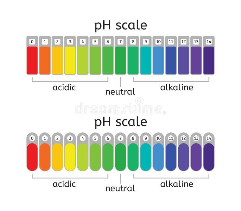 Escala do pH do vetor da carta ácida, neutra e alcalina do valor ilustração royalty free