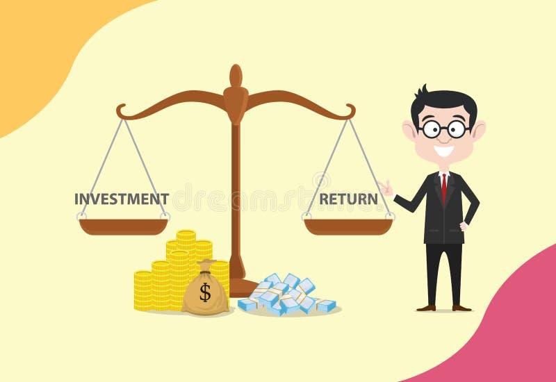 Escala do retorno sobre o investimento do Roi com dinheiro e comparação entre o investimento e o retorno ilustração royalty free