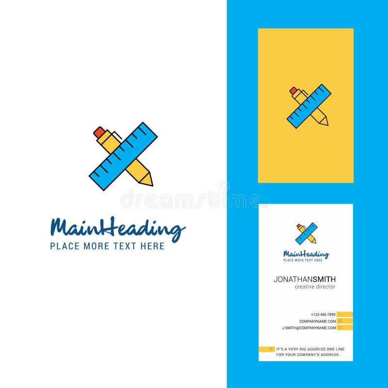Escala e logotipo criativo e cartão da pena vetor vertical do projeto ilustração do vetor