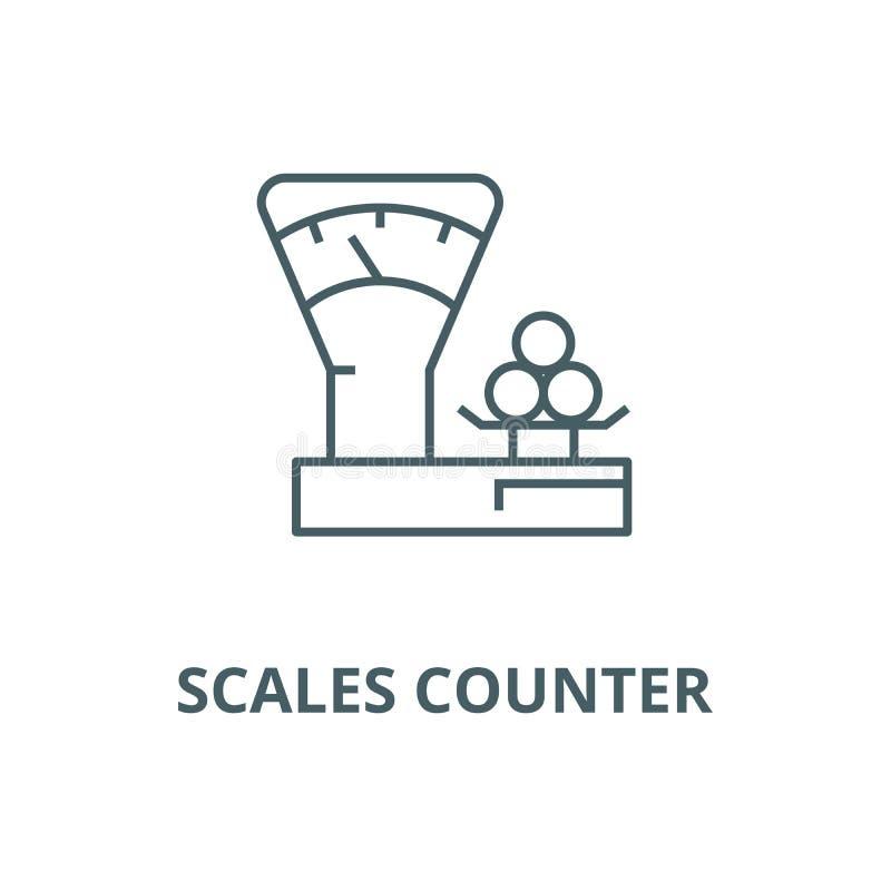 Escala el contador, línea icono, concepto linear, muestra del esquema, símbolo del vector de la tienda libre illustration