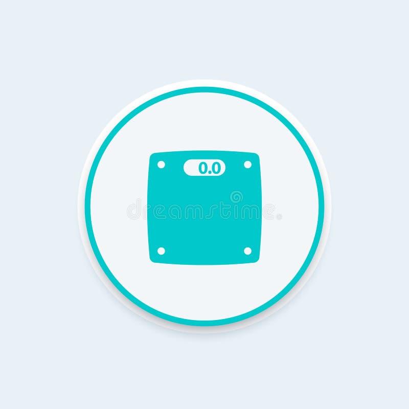 Escala el icono, dieta, pérdida gorda, control de peso ilustración del vector