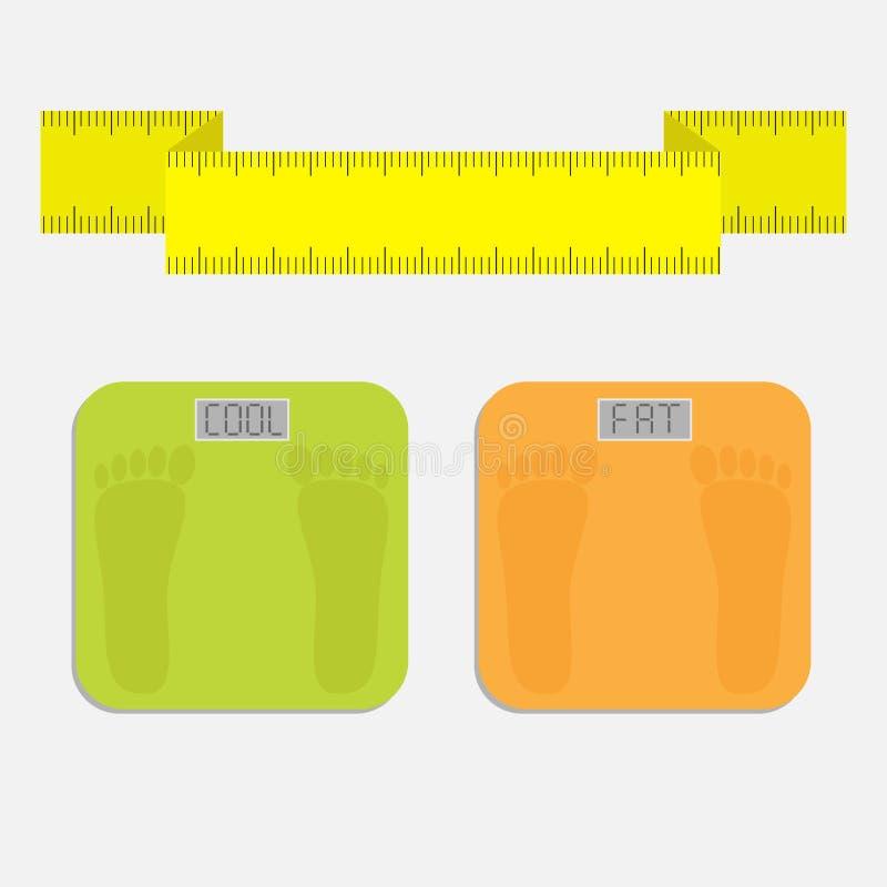Escala electrónica del peso del piso del cuarto de baño con la grasa de la palabra Cinta de medición amarilla Estilo plano del di libre illustration