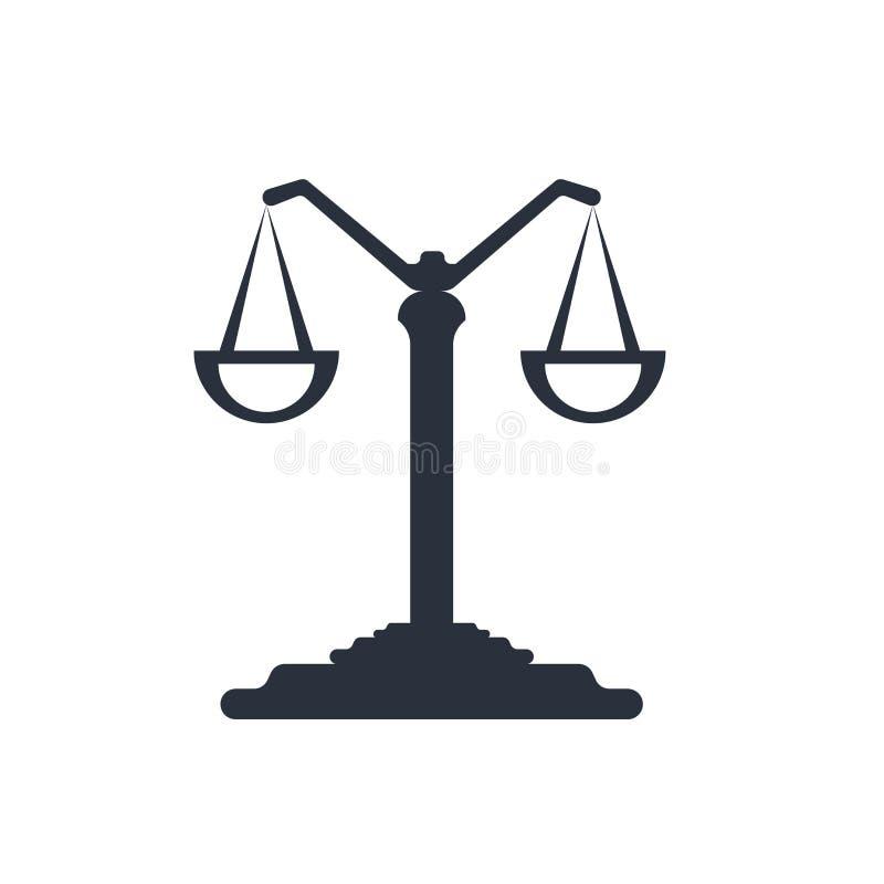 A escala equilibrou o sinal e o símbolo do vetor do ícone da ferramenta isolada no fundo branco, conceito equilibrado do logotipo ilustração royalty free