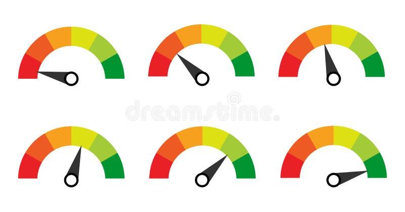 escala galga contador Indicadores con diversos indicadores libre illustration