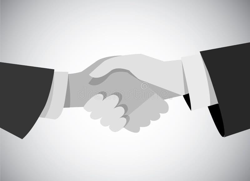 Escala gris de la mano del hombre de negocios del apretón de manos plana stock de ilustración