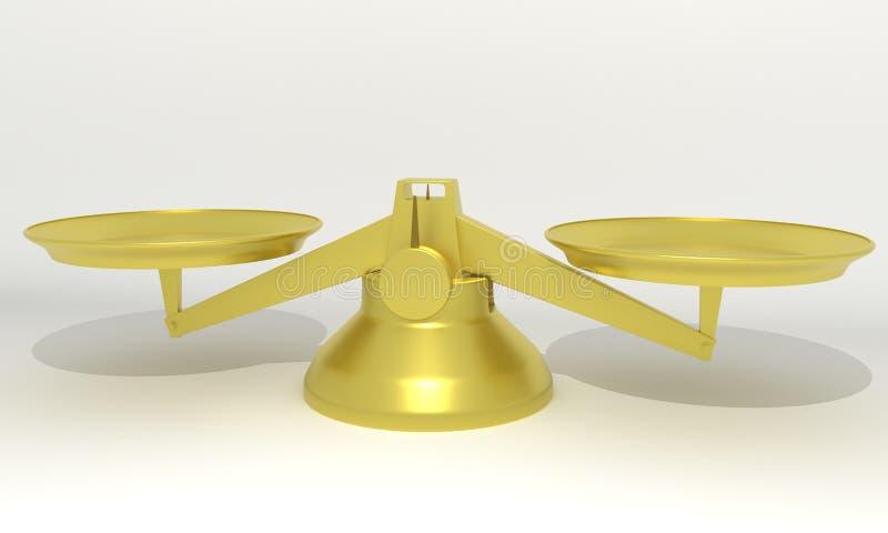 Escala la balanza del oro, 3d r stock de ilustración