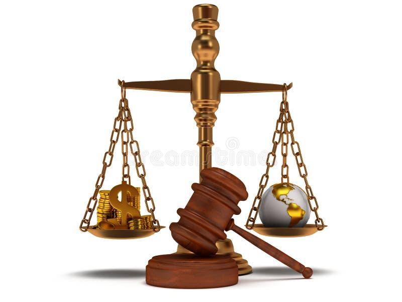 Escala la justicia con el mazo en blanco.  3D. ilustración del vector