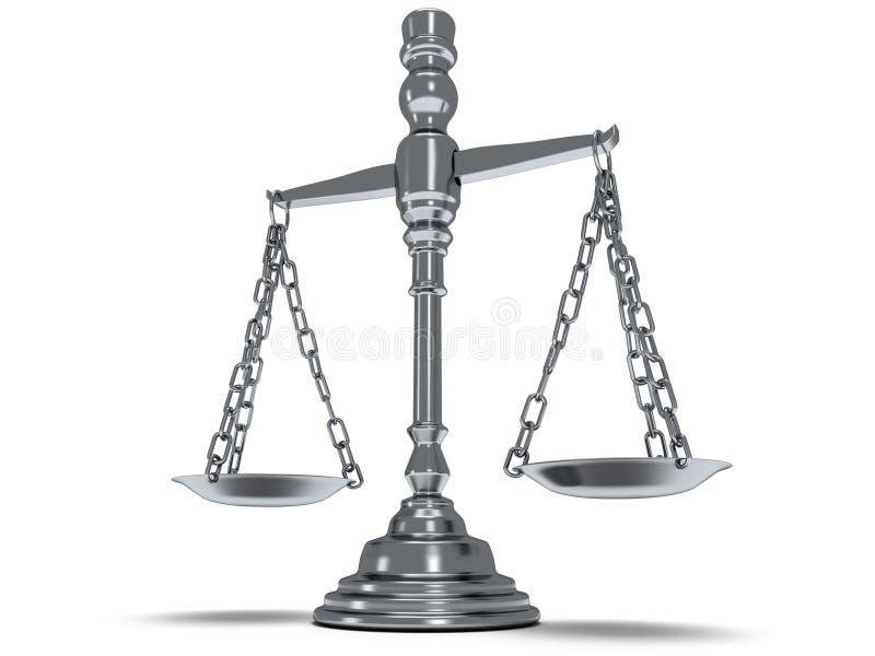 Escala la justicia en blanco 3d stock de ilustración