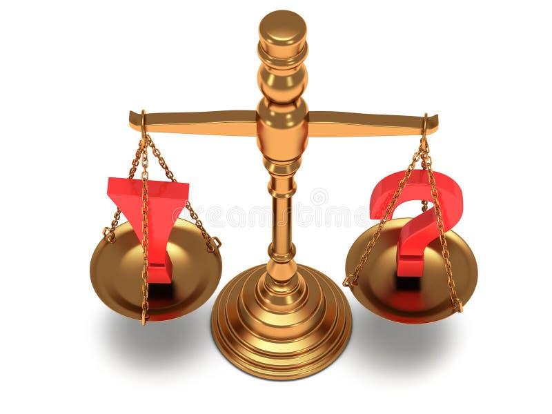 Escala la justicia en blanco 3d ilustración del vector