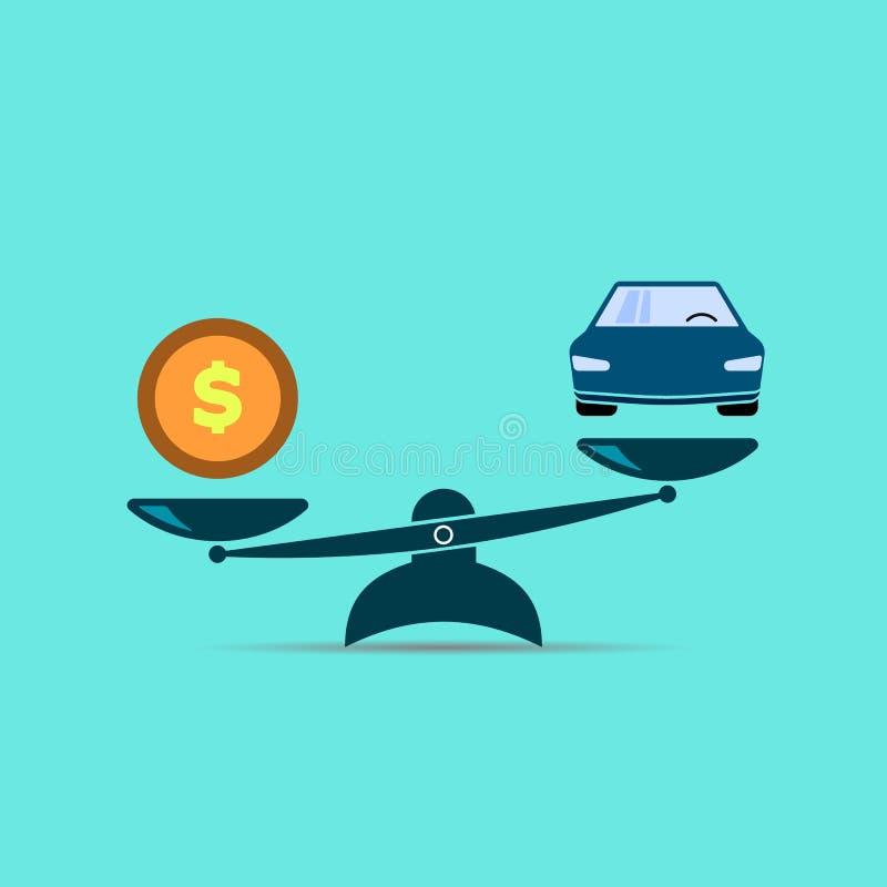 Escala o ícone balanço o dinheiro é mais caro do que o carro símbolo EPS10 da cor do vetor ilustração royalty free