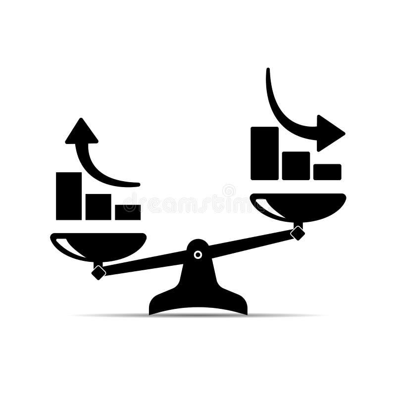 Escala o ícone crescimento ascendente e crescimento para baixo Ilustração do vetor ilustração royalty free