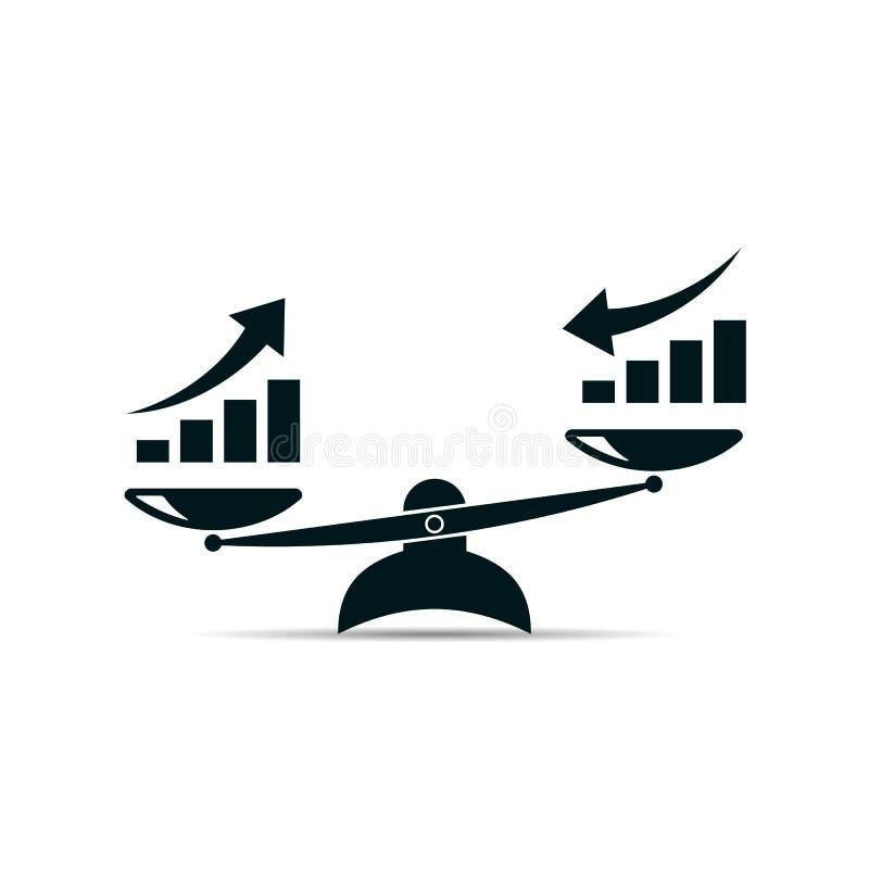 Escala o ícone crescimento ascendente e crescimento para baixo símbolo EPS10 do vetor ilustração stock