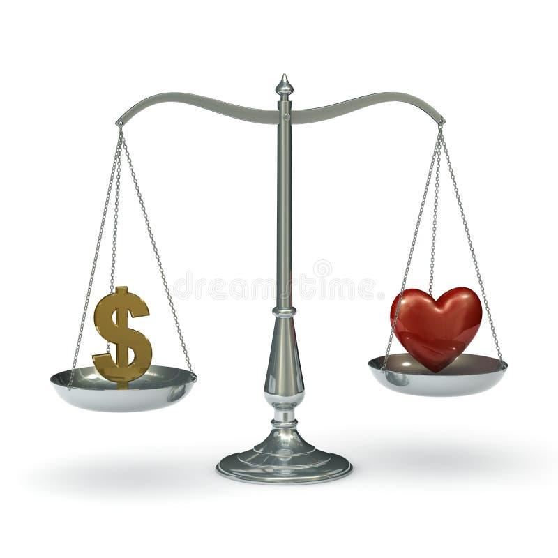 Escala o coração do dólar ilustração royalty free