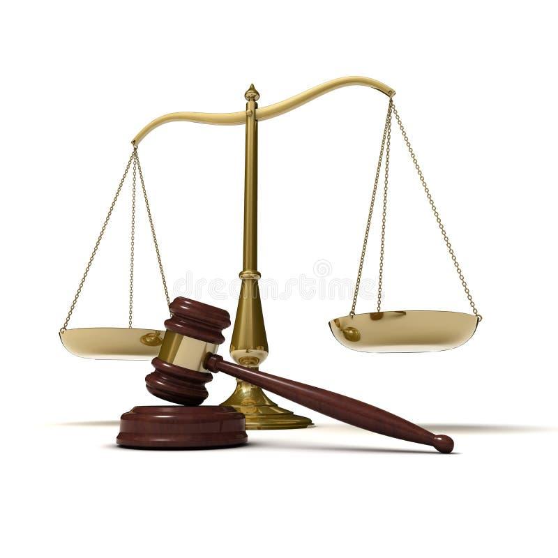 Escala o gavel de justiça ilustração do vetor