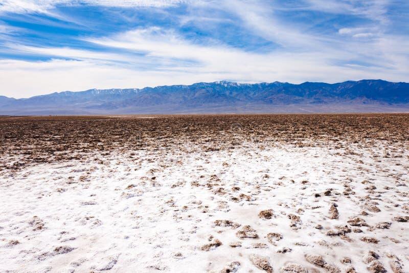 Escala o Vale da Morte NP E.U. de Panamint da bacia de Badwater imagem de stock