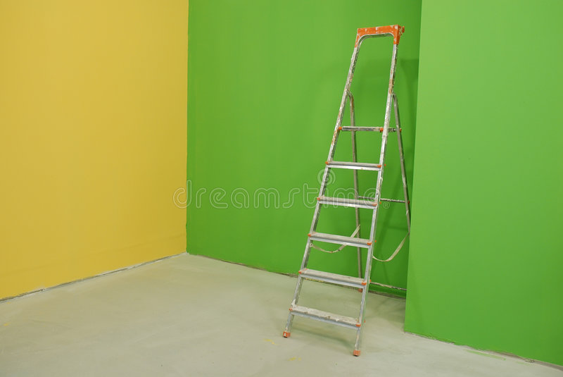 Escala por las paredes pintadas foto de archivo imagen for Fotos paredes pintadas