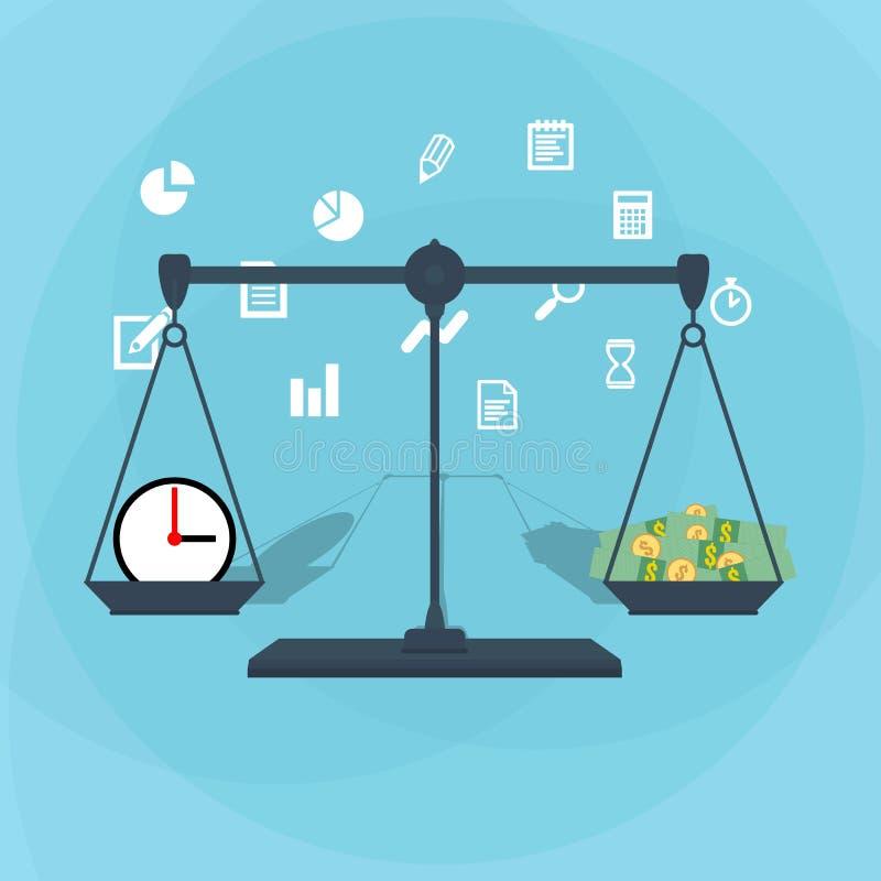 Escala que pesa el dinero y el tiempo ilustración del vector