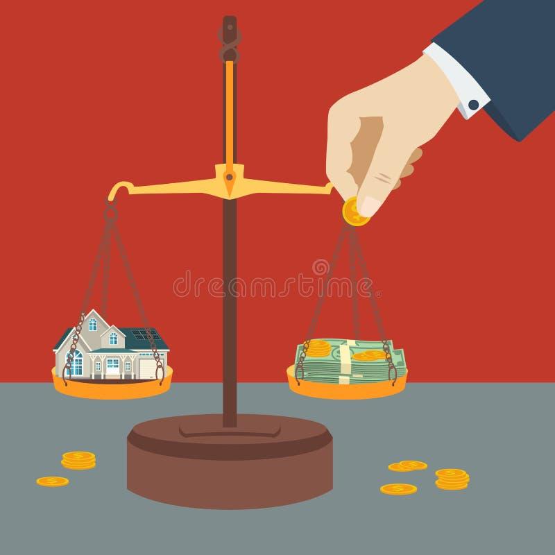 Escala que pesa o dinheiro e a casa Pena, eyeglasses e gráficos ilustração royalty free