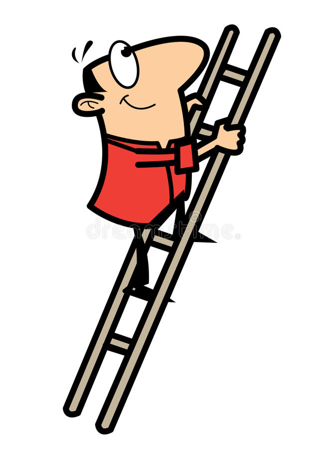Escala que sube del hombre de la historieta stock de ilustración