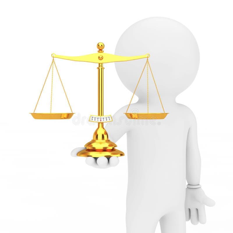 escala simple de oro de la balanza de 3d Person Hold a disposición representación 3d libre illustration