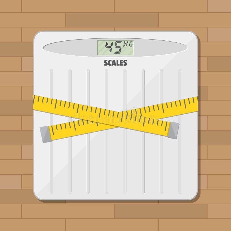 Escala y cinta métrica del peso del piso del cuarto de baño stock de ilustración