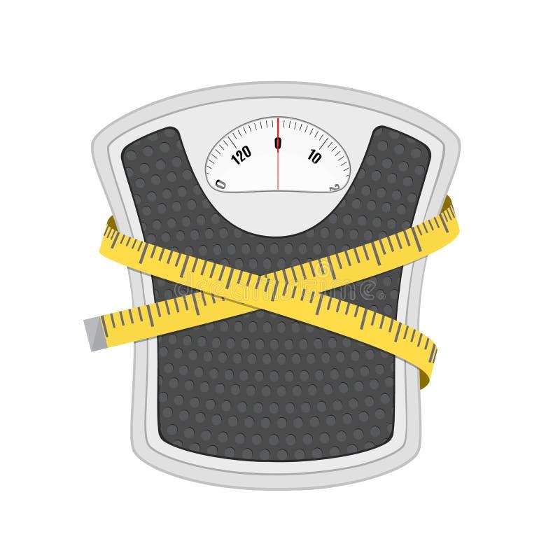 Escala y cinta métrica del peso del piso del cuarto de baño libre illustration