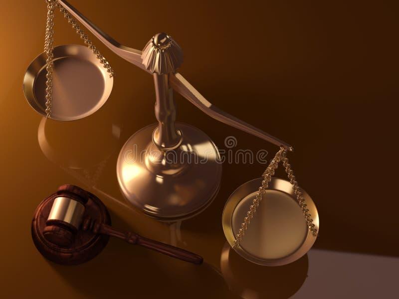 Escala y mazo de la justicia stock de ilustración