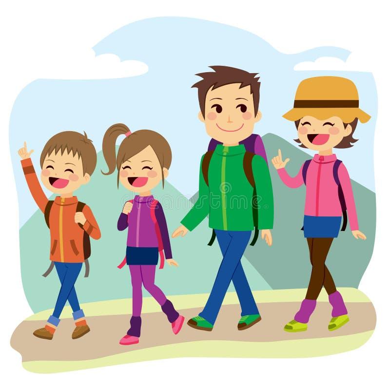Escalada feliz da família ilustração do vetor