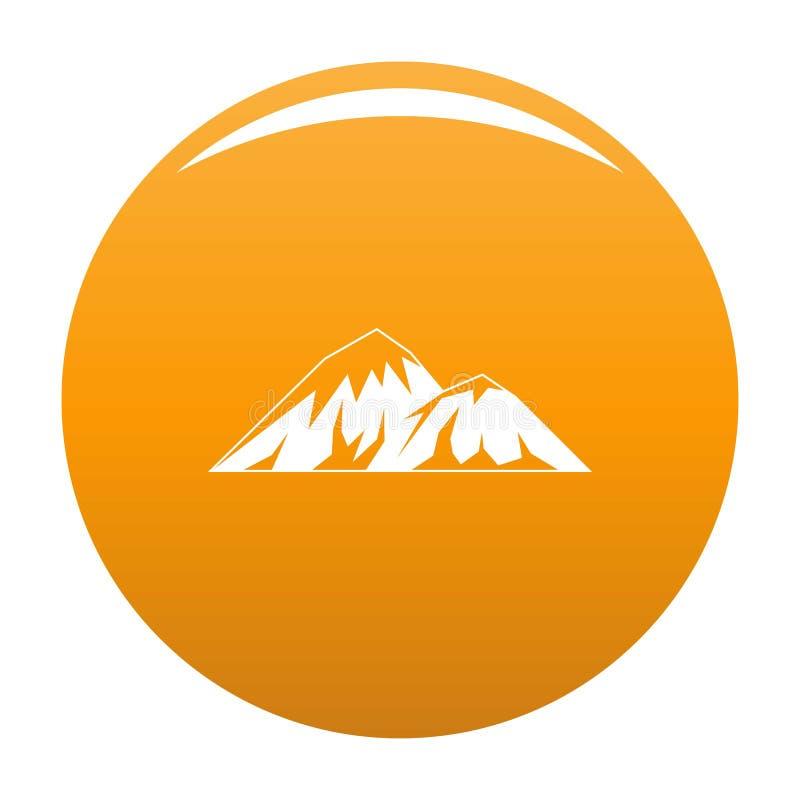 Escalada na laranja do ícone da montanha ilustração do vetor