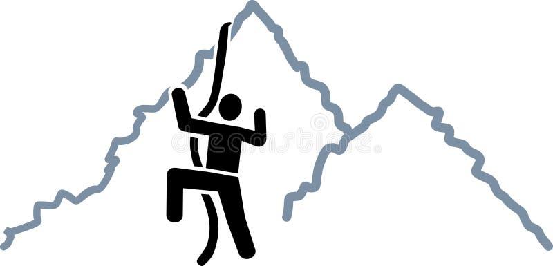 Escalada no ícone das montanhas ilustração do vetor