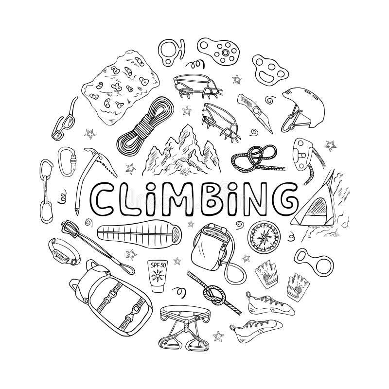 Escalada o equipo y accesorios del alpinismo imágenes de archivo libres de regalías