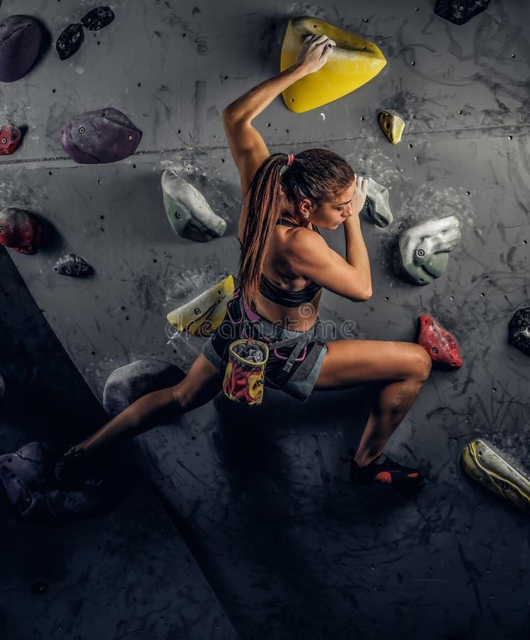Escalada praticando vestindo do sportswear da jovem mulher em uma parede dentro imagens de stock
