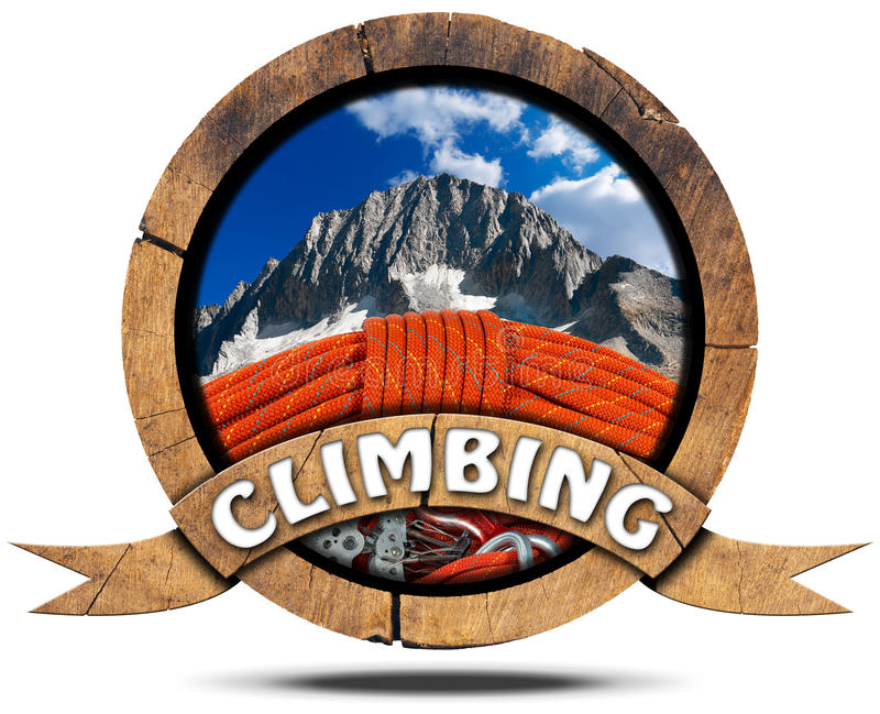 Escalada - símbolo de madeira com pico ilustração stock