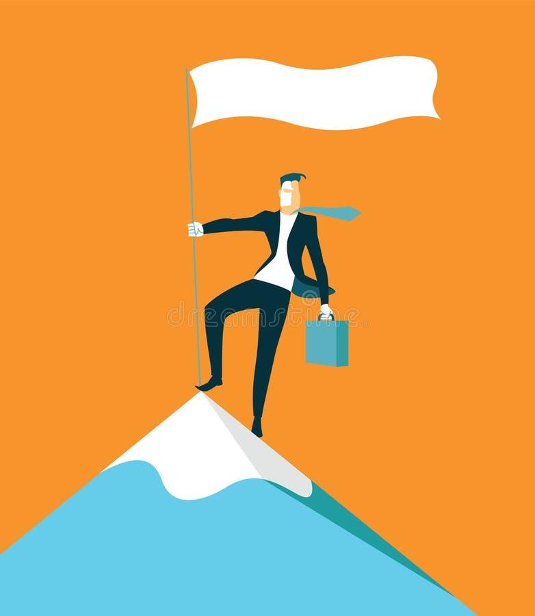 Escaladas à parte superior da montanha Realização do sucesso ilustração do vetor
