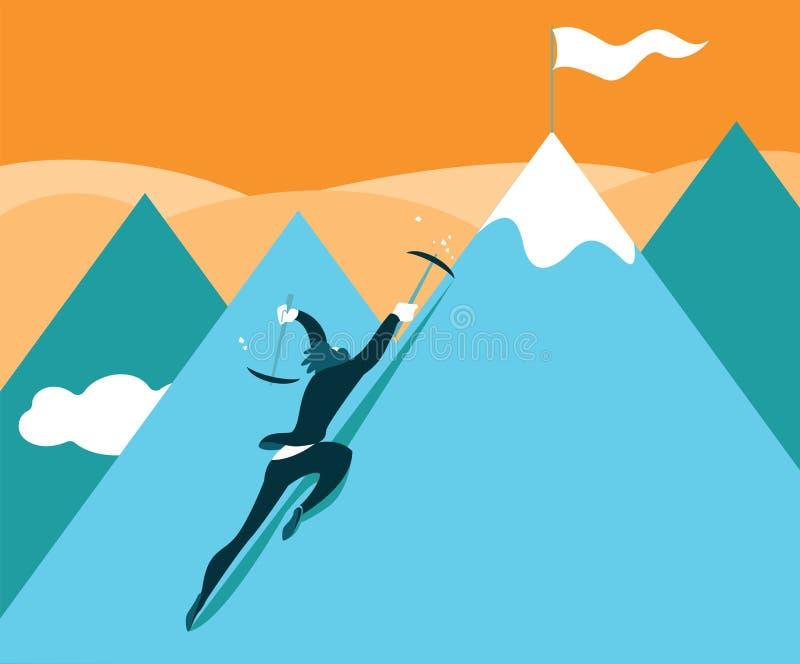 Escaladas à parte superior da montanha Realização do sucesso ilustração royalty free