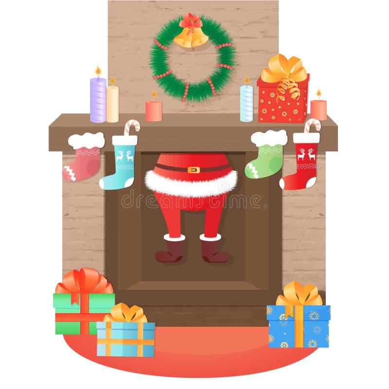 Escaladas de Santa Claus fora da chaminé Decoração do Natal ilustração royalty free