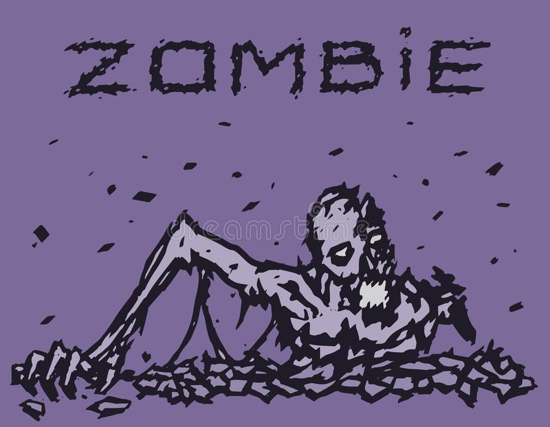 Escaladas do demônio do zombi fora do inferno Ilustração do vetor ilustração stock
