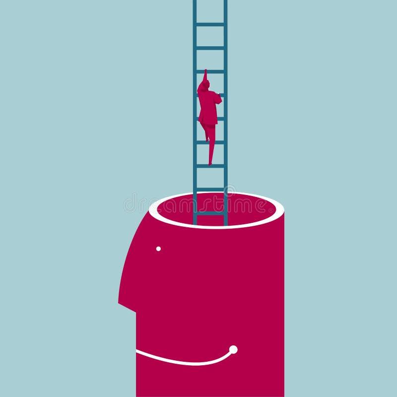 Escaladas do homem de negócios fora do cérebro usando uma escada ilustração stock