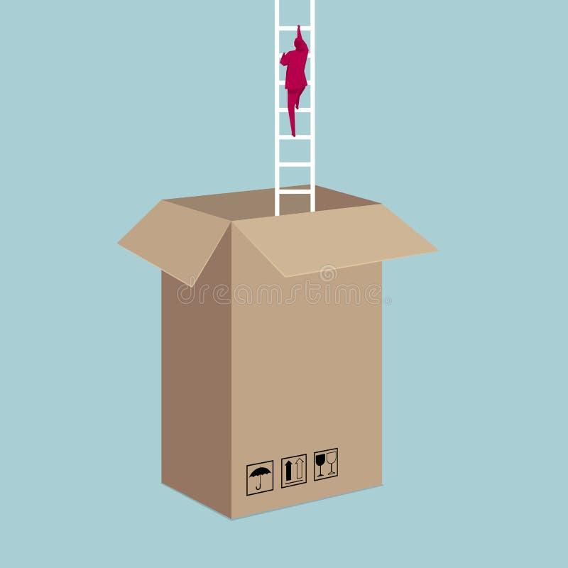 Escaladas do homem de negócios fora da caixa usando uma escada ilustração royalty free