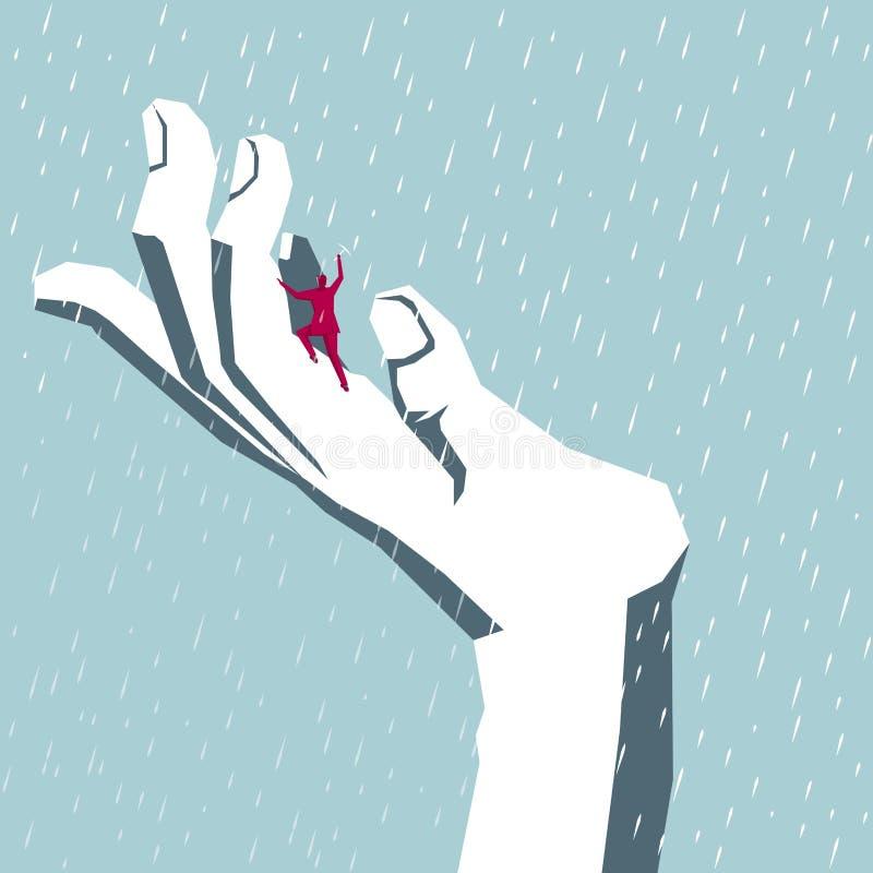 Escaladas do homem de negócios na mão ilustração do vetor