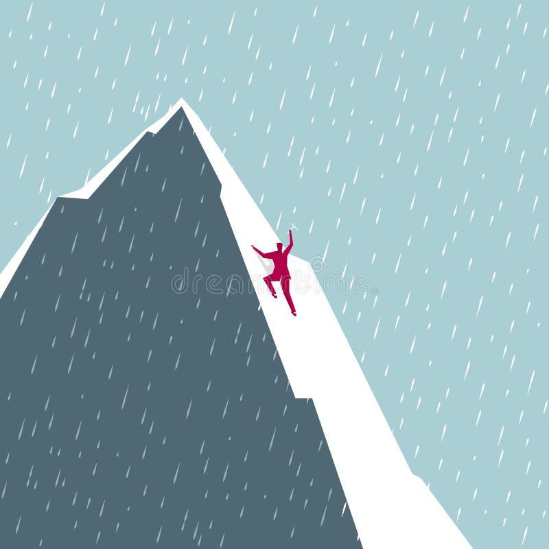 Escaladas do homem de negócios No inverno frio ilustração stock