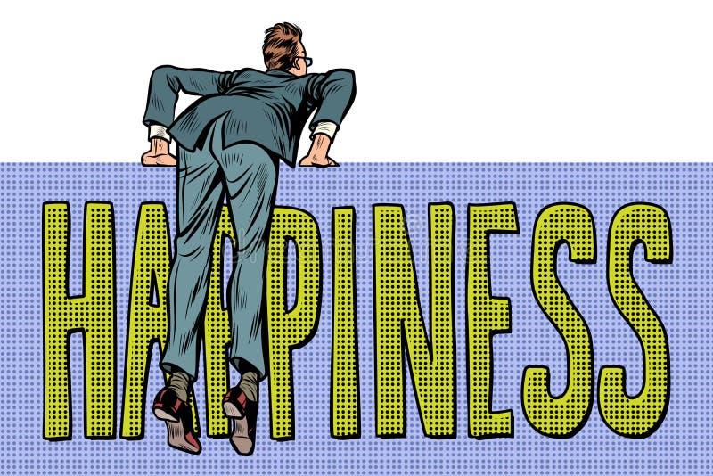 Escaladas do homem de negócios sobre a cerca texto da palavra da felicidade ilustração do vetor