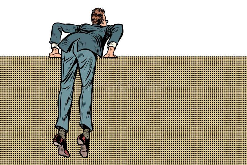 Escaladas do homem sobre a parede ilustração stock