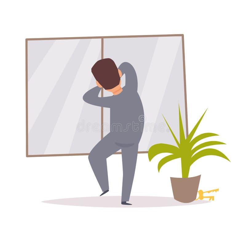 Escaladas do ladrão na janela salteador Vetor ilustração stock