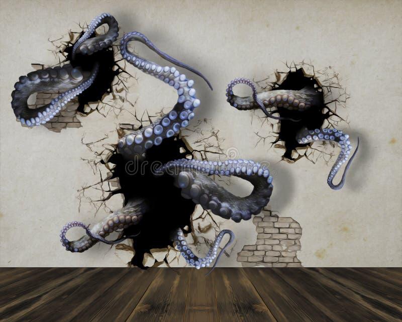 Escaladas do polvo fora da parede ilustração 3D ilustração stock