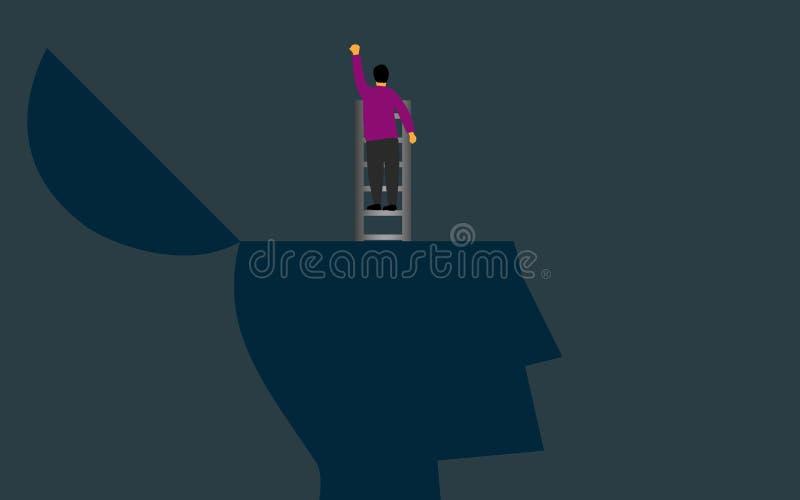 Escaladas fora do cérebro usando uma escada ilustração royalty free