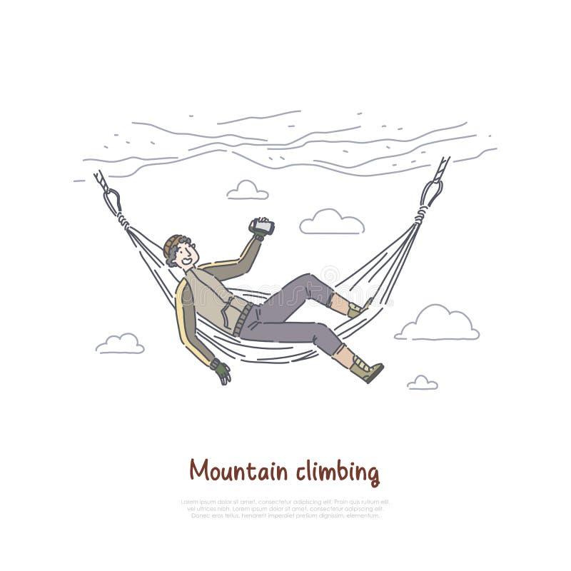 Escalade, alpinisme, grimpeur se reposant dans l'hamac, voyageur détendant dans le mur de falaise, prenant la vidéo, bannière de  illustration de vecteur