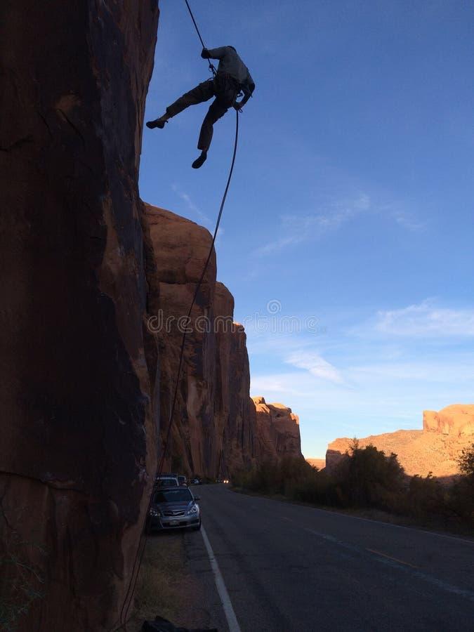 Escalade dans Moab, UT photographie stock