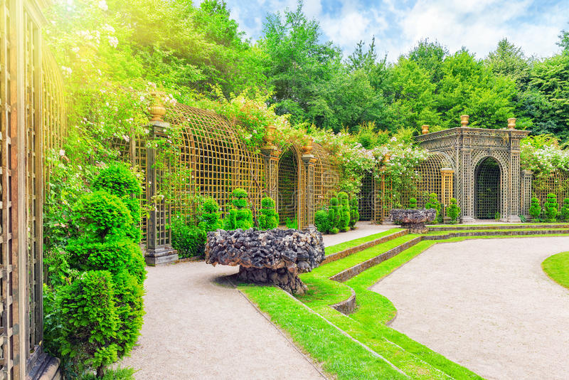Escalade fountain in a beautiful park in Europe. royalty free stock photo