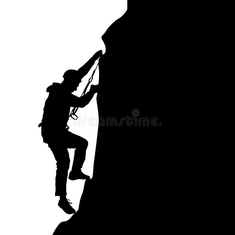 Escalador de roca negro de la silueta en el fondo blanco Ilustración del vector ilustración del vector